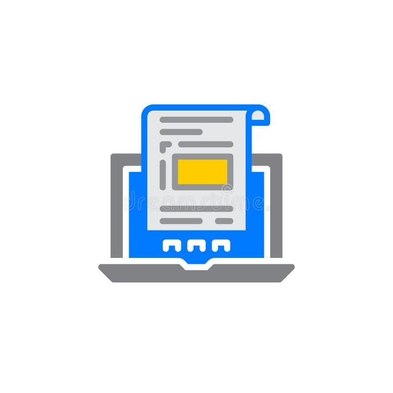 Laptop z dokumentem, fakturowy ikona wektor, wypełniający mieszkanie znak, stały kolorowy piktogram odizolowywający na bielu ilustracja wektor