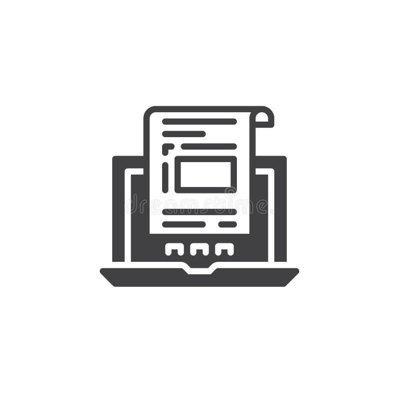 Laptop z dokumentem, fakturowy ikona wektor, wypełniający mieszkanie znak, stały piktogram odizolowywający na bielu royalty ilustracja