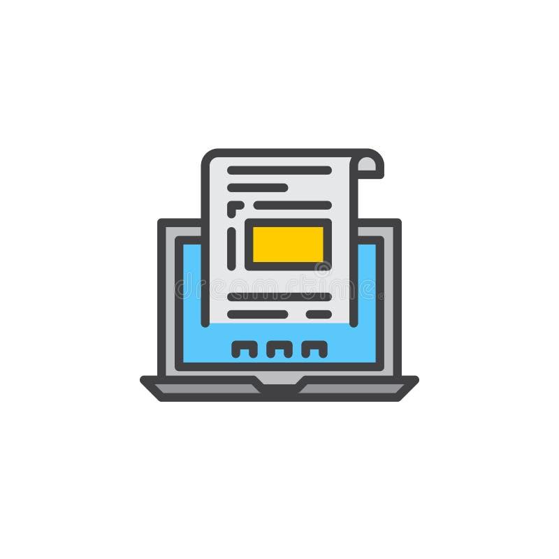 Laptop z dokumentem, faktury kreskowa ikona, wypełniający konturu wektoru znak, liniowy kolorowy piktogram odizolowywający na bie royalty ilustracja