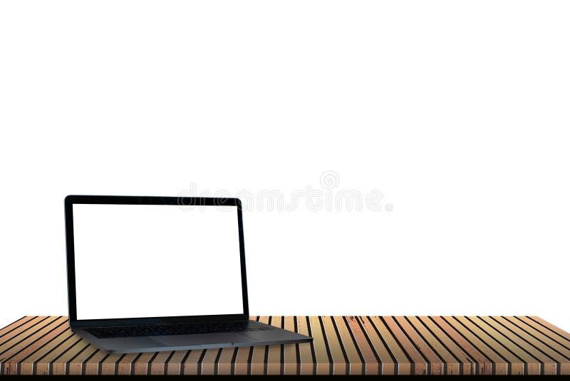 Laptop z drewnianą podłogą plecy jest biały obraz stock