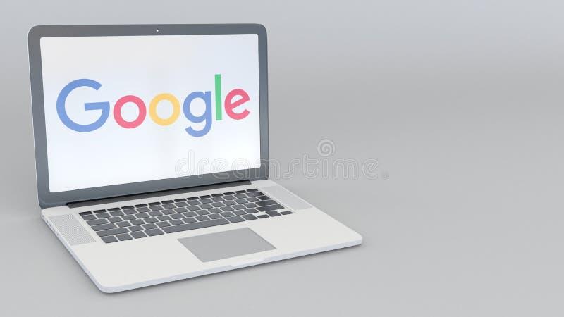 Laptop z Google logem Informatyka artykułu wstępnego 3D konceptualny rendering royalty ilustracja