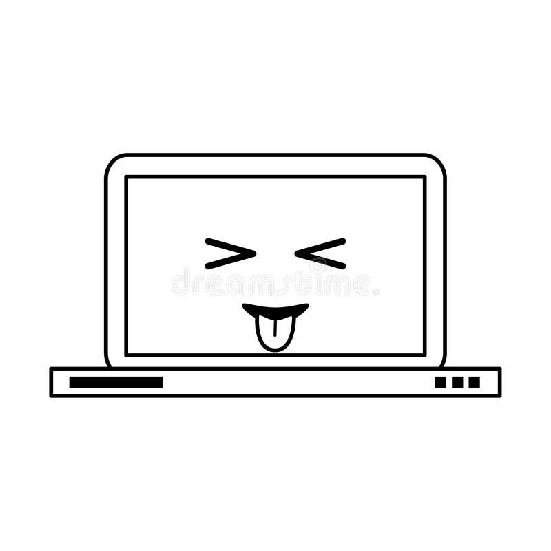 Laptop z jęzorem za kawaii kreskówce w czarny i biały ilustracja wektor
