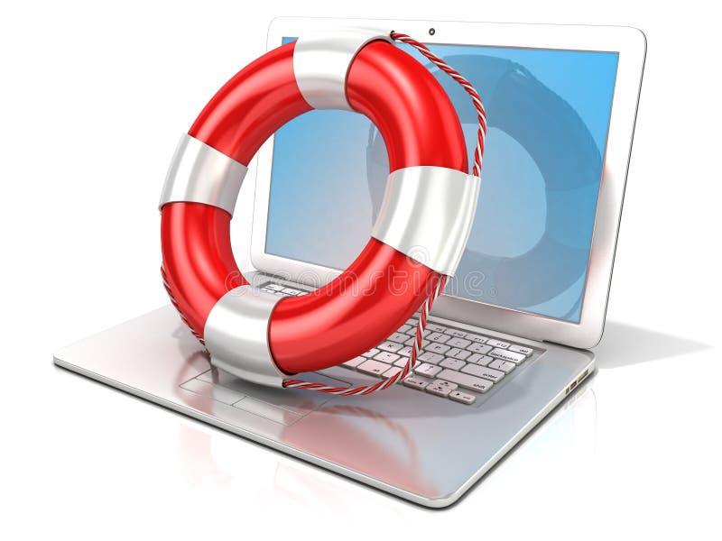 Laptop z lifebuoy Pojęcie komputer, online pomoc i bezpieczeństwo interneta surfing, royalty ilustracja
