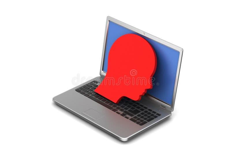 Download Laptop z mężczyzna głową ilustracji. Ilustracja złożonej z ciężki - 53777964