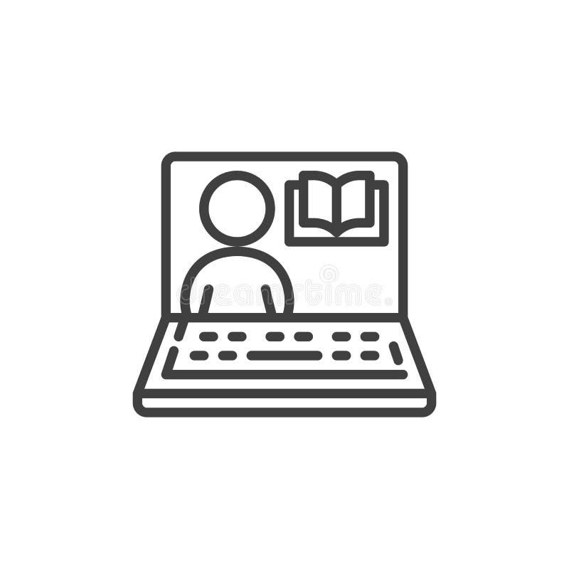 Laptop z mężczyzny i książki kreskową ikoną ilustracja wektor