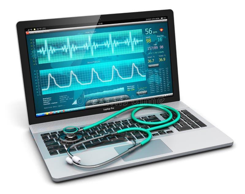 Laptop z medycznym diagnostycznym oprogramowaniem i stetoskopem ilustracja wektor