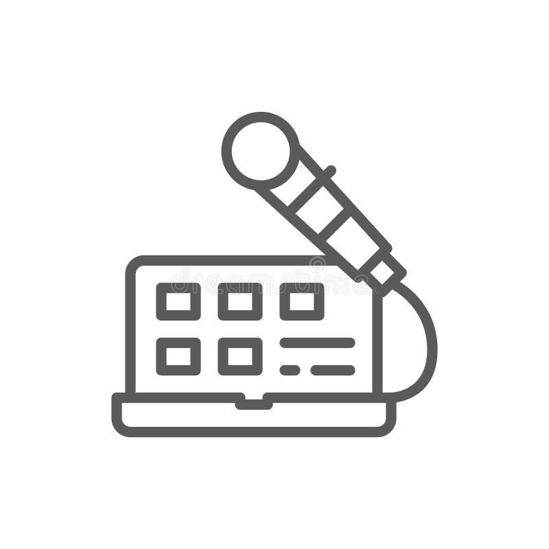 Laptop z mikrofonem, rozs?dny nagranie, radiowy gospodarz, transmisje wyk?ada ikon? ilustracja wektor