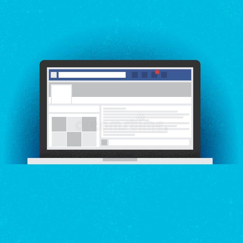 Laptop z ogólnospołeczną sieć interneta stroną royalty ilustracja