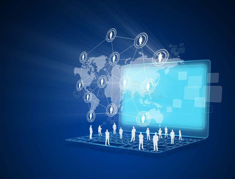 Laptop z ogólnospołeczną siecią ilustracja wektor