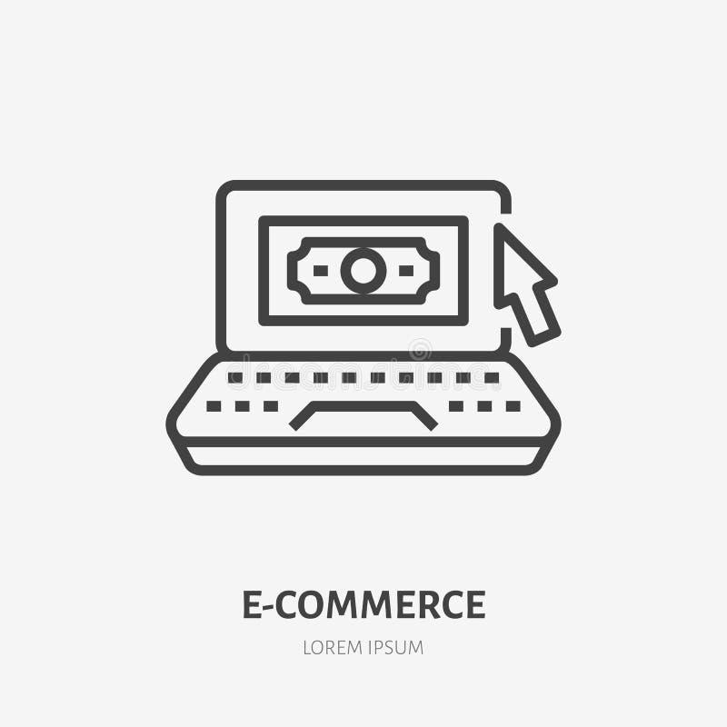Laptop z pieniądze i myszy pointeru mieszkaniem wykłada ikonę Wynagrodzenie na stuknięcie znaka Cienki liniowy logo dla usluga fi royalty ilustracja