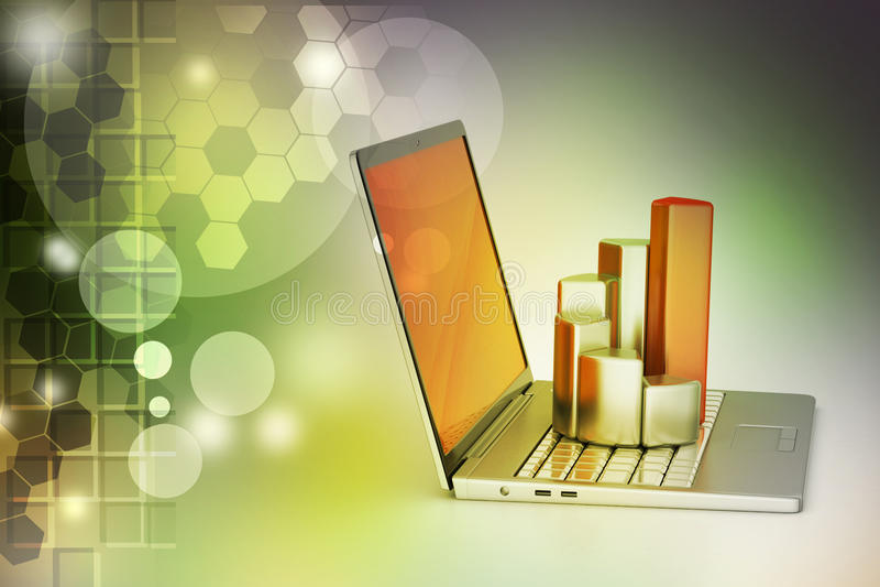 Laptop z pieniężnym wykresem royalty ilustracja