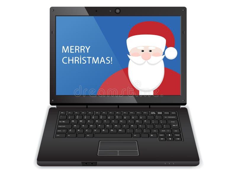 Laptop z Santa ilustracja wektor