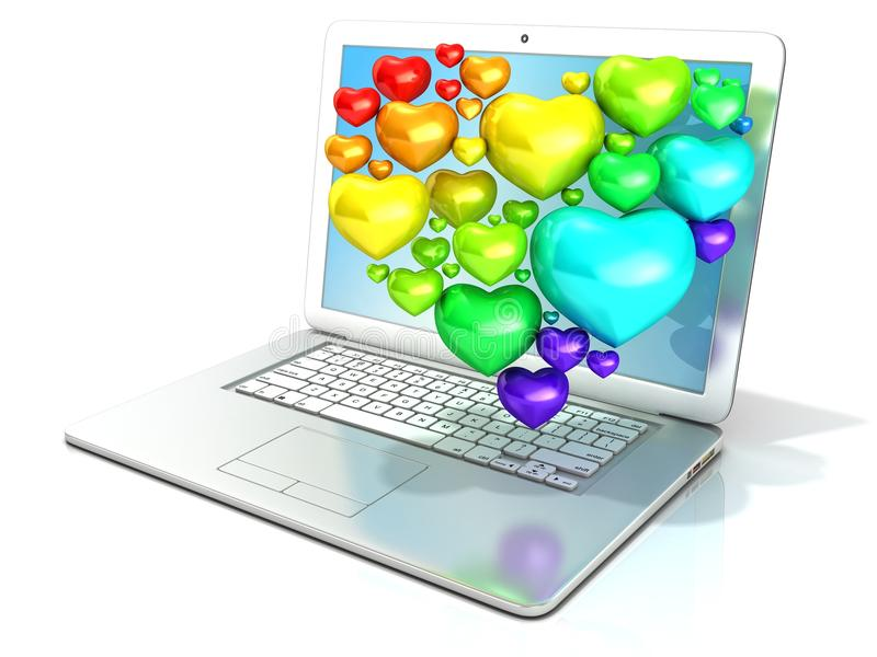 Laptop z serce kształtującym gronem serca royalty ilustracja