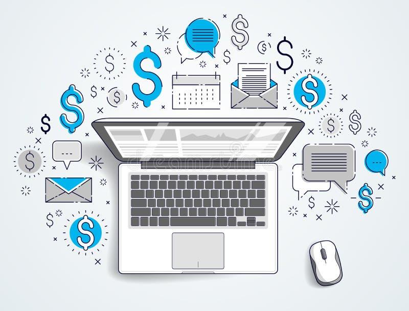 Laptop z statystyki infographics i setem ikony, online biznes, internet?w elektroniczni finanse royalty ilustracja