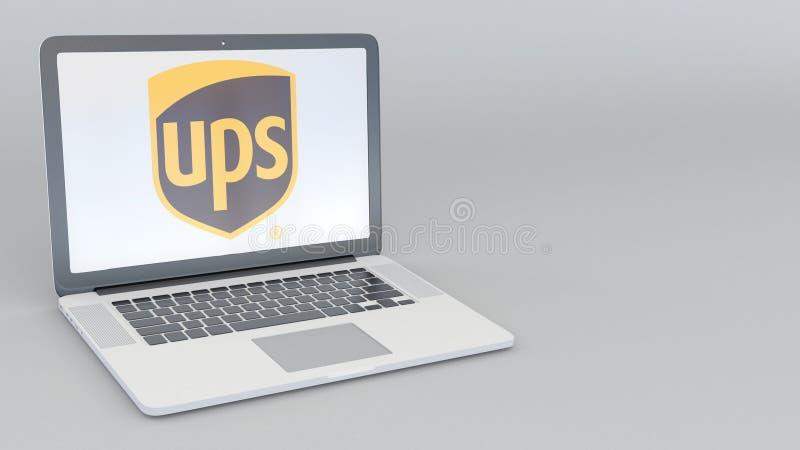Laptop z United Parcel Service PODNOSI loga Informatyka artykułu wstępnego 3D konceptualny rendering royalty ilustracja