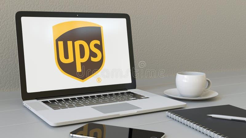 Laptop z United Parcel Service PODNOSI loga na ekranie Nowożytnego miejsca pracy artykułu wstępnego 3D konceptualny rendering ilustracja wektor