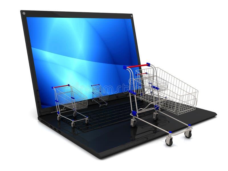 Laptop z wózek na zakupy odizolowywającym na białym tle royalty ilustracja