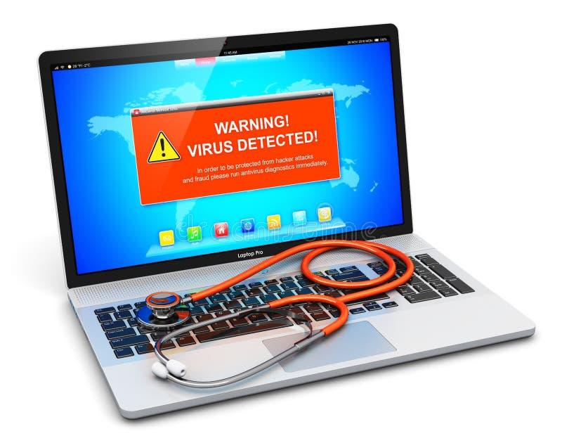 Laptop z wirusa ataka ostrzegawczą wiadomością na ekranie i stethosco ilustracji