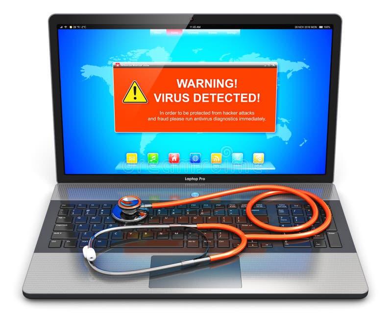 Laptop z wirusa ataka ostrzegawczą wiadomością na ekranie i stetoskopie ilustracja wektor