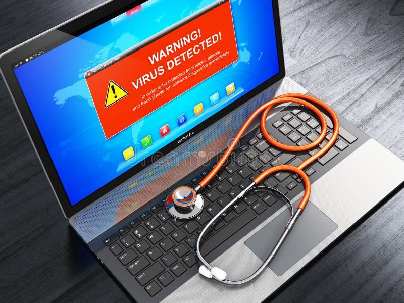 Laptop z wirusa ataka ostrzegawczą wiadomością na ekranie i stetoskopie ilustracji