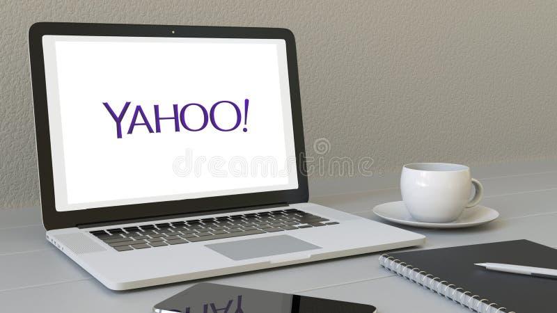 Laptop z Yahoo logem na ekranie Nowożytnego miejsca pracy artykułu wstępnego 3D konceptualny rendering royalty ilustracja