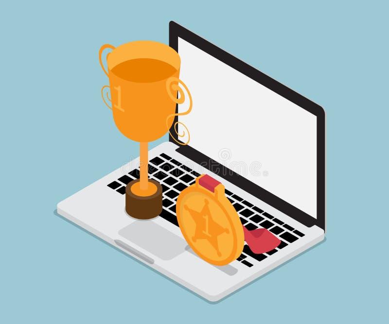 Laptop z złocistego trofeum biznesowym pojęciem isometric ilustracja wektor