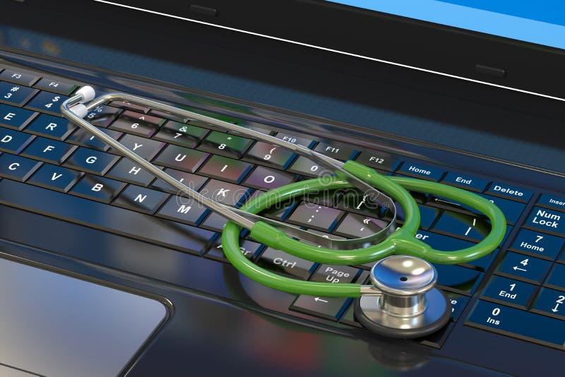 laptopa klawiaturowy stetoskop ilustracja wektor