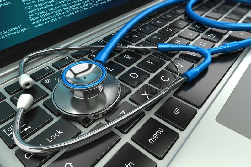 laptopa klawiaturowy stetoskop Pojęcie ilustracja wektor