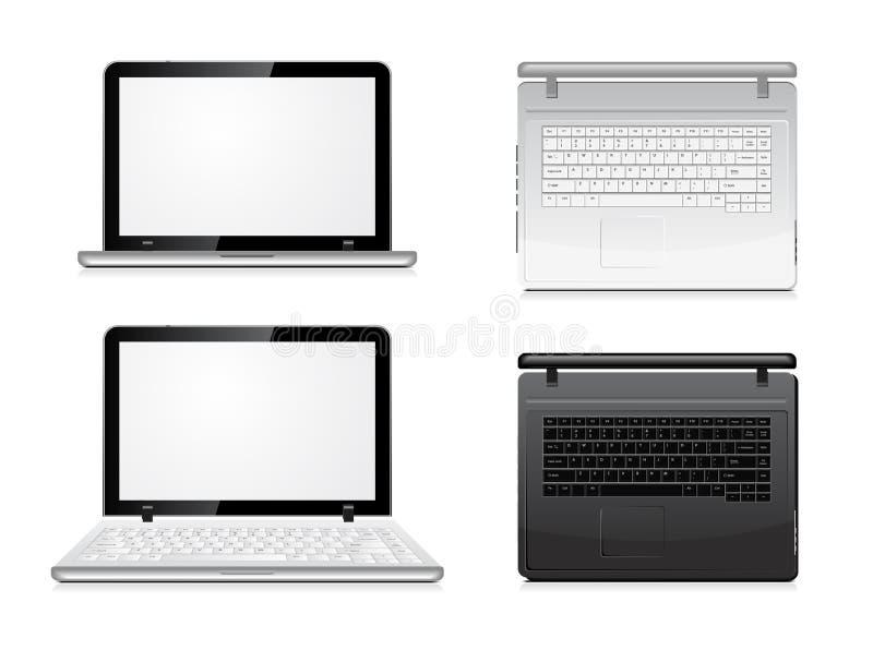 Laptopansicht von der Frontseite und von der Oberseite stock abbildung