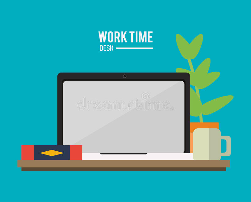 Laptopbüro-Arbeitszeit-Versorgungsikone, Vektor stock abbildung