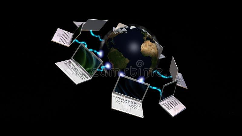 Laptope angeschlossen an Planet Erde stock abbildung