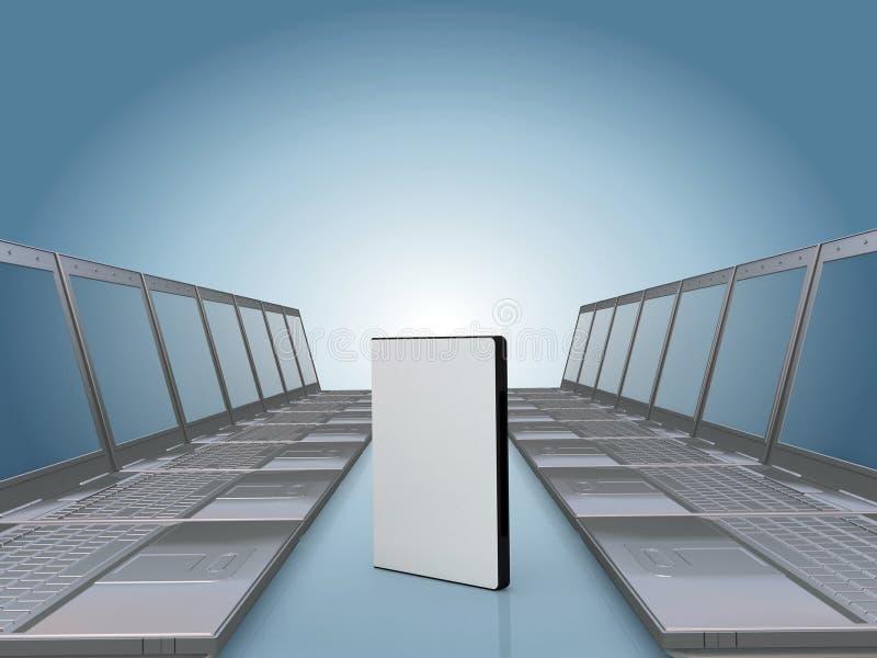 Laptopflur mit DVD Software-Fall lizenzfreie abbildung