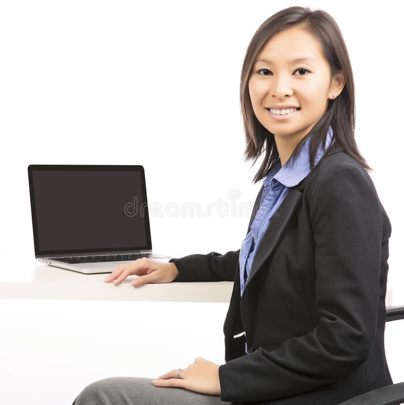 Laptopfrau lizenzfreies stockfoto