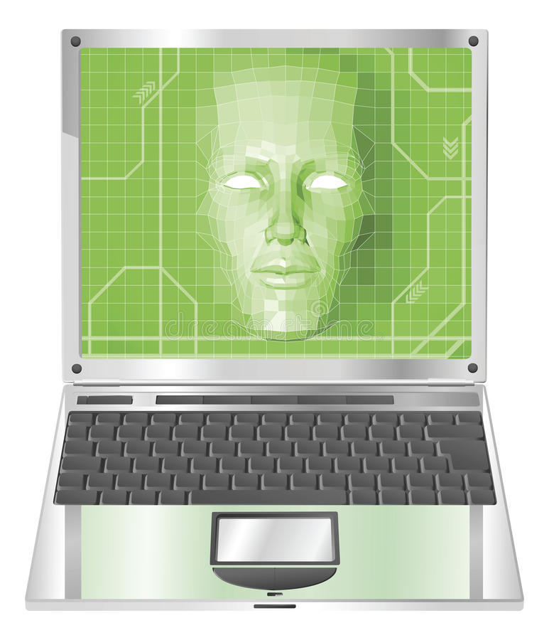 Laptopfrauen-Konzept Abbildung stock abbildung