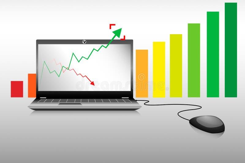 Laptopgeschäft und Wachstumsbalkendiagramm  stock abbildung