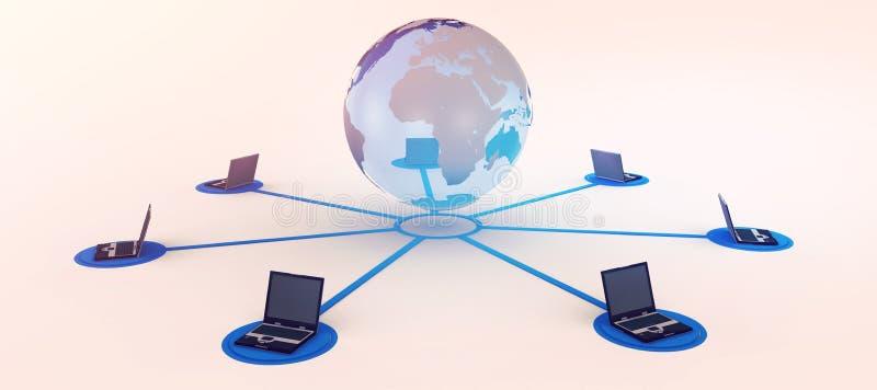 Laptops angeschlossen mit Erde stock abbildung