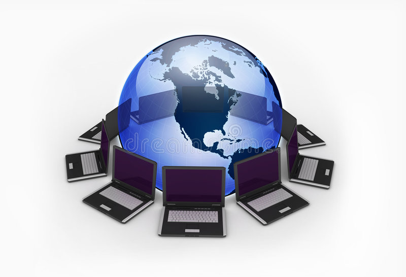 laptops around the earth royalty free stock images