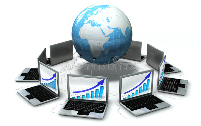Laptops Around The World Isolated Royalty Free Stock Images