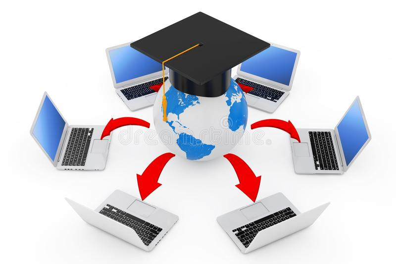 Laptops Arranged in a Circle Around Graduation Academic Cap Earth Globe with Glowing Red Arrows Connections. 3d Rendering stock illustration