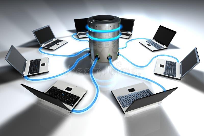 Laptops die met centrale server communiceren royalty-vrije illustratie