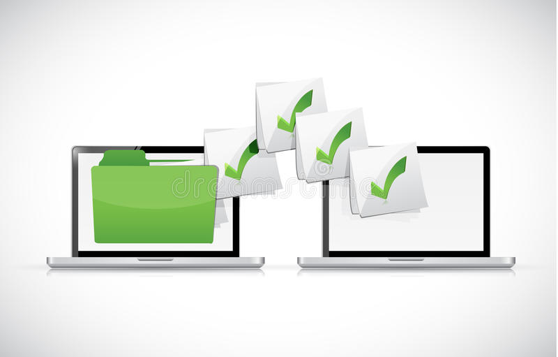 Laptops exchanging files illustration royalty free illustration