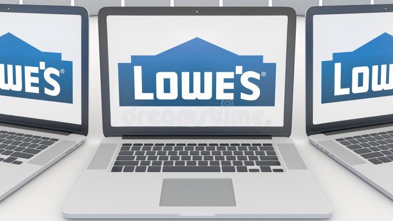 Laptops mit Lowe-` s Logo auf dem Schirm Wiedergabe des Computertechnologiebegriffsleitartikels 3D lizenzfreie abbildung