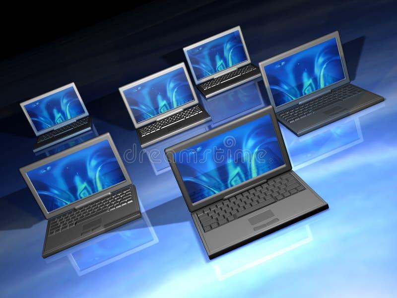 Laptops netwerk royalty-vrije illustratie