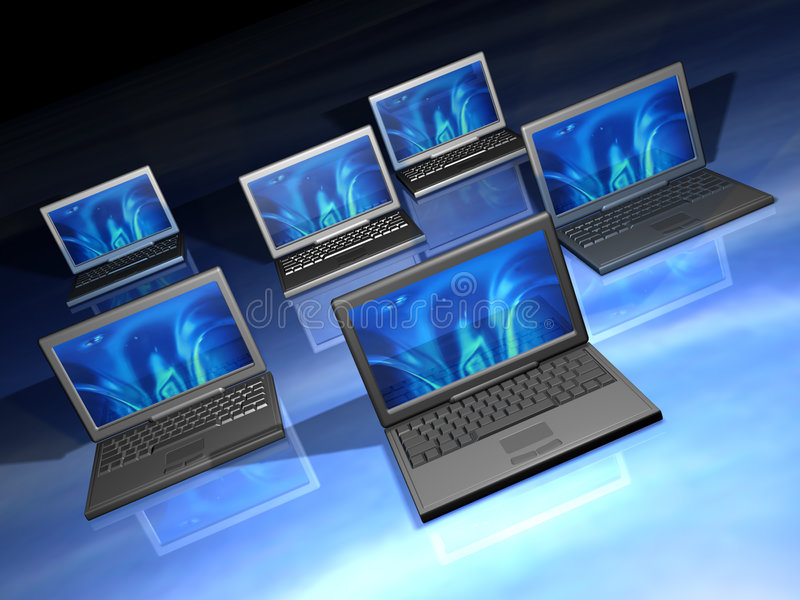Laptops network. 3d render