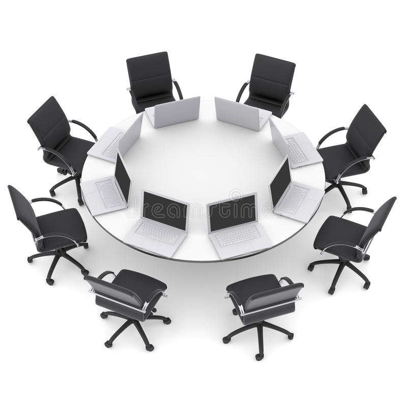 Laptops On The Office Round Table And Chairs Royalty Free Stock Photos Image 34908098