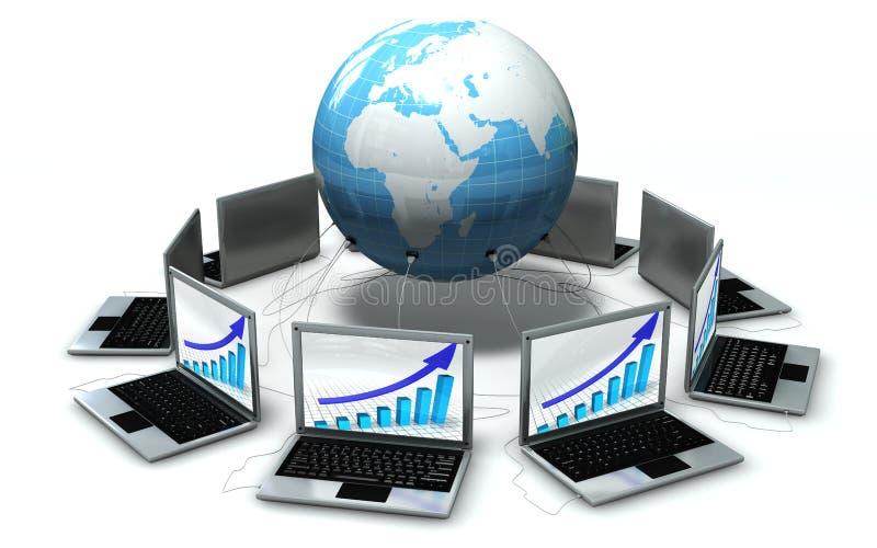 Laptops rond de geïsoleerden wereld stock illustratie
