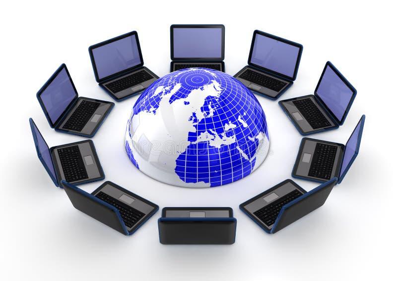 Laptops rond de wereld vector illustratie