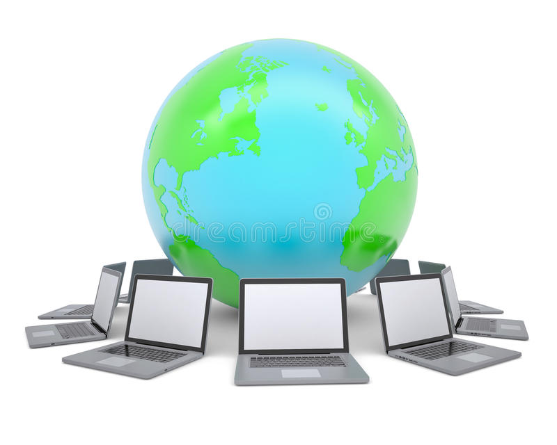 Laptops um die Planetenerde lizenzfreie abbildung