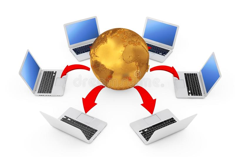 Laptops vereinbart in einem Kreis um goldene Erdkugel mit Glühen vektor abbildung