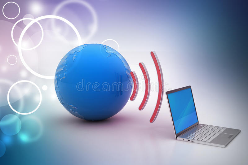 Laptops wireless connection with earth. In color background royalty free illustration